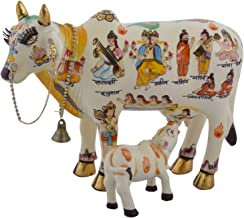 Kamdhenu Cow with Calf Idol, Polyresin Statue for Home Decor, Temple and Vastu Puja, Size (19cmx12cmx15cm) Handpainted Idols