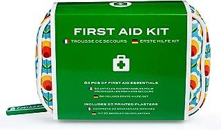 Kit de primeros auxilios – Mini botiquín de viaje con 84 artículos de Yellodoor (azul, Flores Felices)