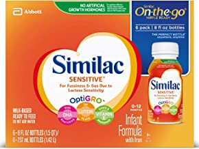 Similac Sensitive Infant Formula with Iron, For Fussiness and Gas, Baby Formula, Ready-to-Feed, 8 Fl Oz, Pack of 6