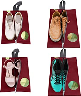 Travel Shoes Bags 4 Pieces Pack - Cheaper Best - Waterproof Durable Versatile Organizers Sleeves Tough Zipper with Fluorescent Mesh Reinforced See-Through Window (Burgundy)