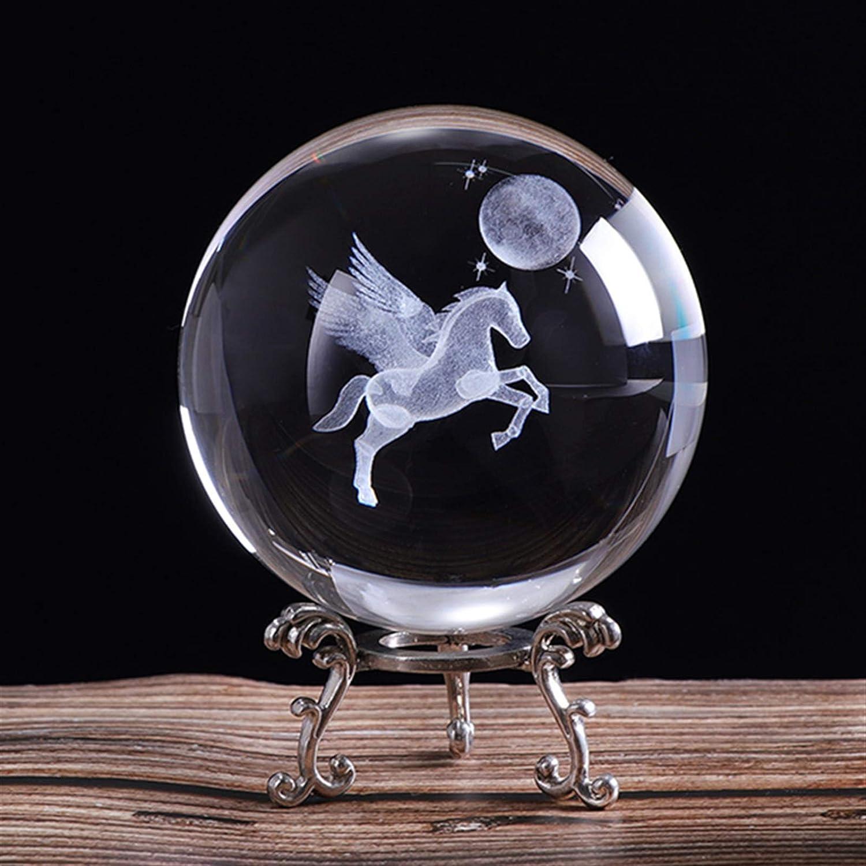 Louisville-Jefferson County Mall YCSX Ornament Balls 80mm 3D Engraved Pegasus Laser Miniature Popular standard Cry