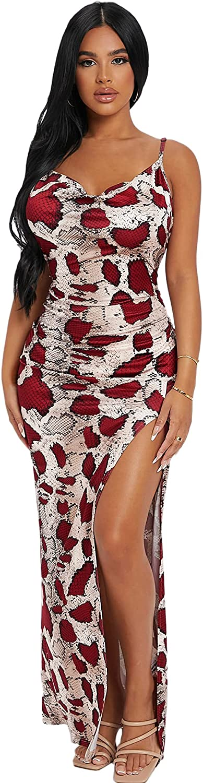 Romwe Women's Snakeskin Print Sleeveless Draped Party Maxi Bodycon Dress with Split