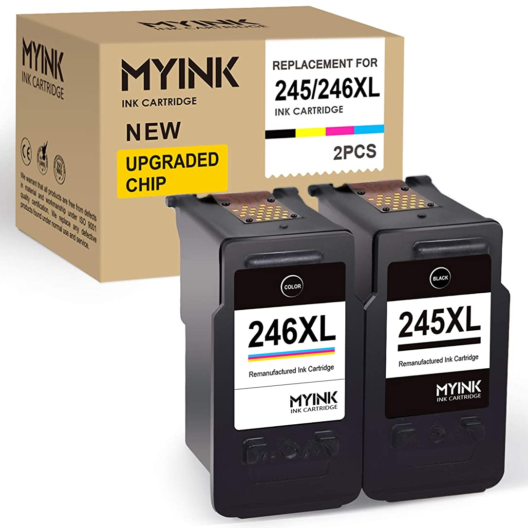 MYINK Remanufactured Ink Cartridge Replacement for Canon 245 246 245XL 246XL PG-245XL PG-246XL (1 Black, 1 Color) use in Pixma TS3122 TS3120 MX492 MX490 MG2420 MG2520 MG2522 MG2924 MG2920 IP2820