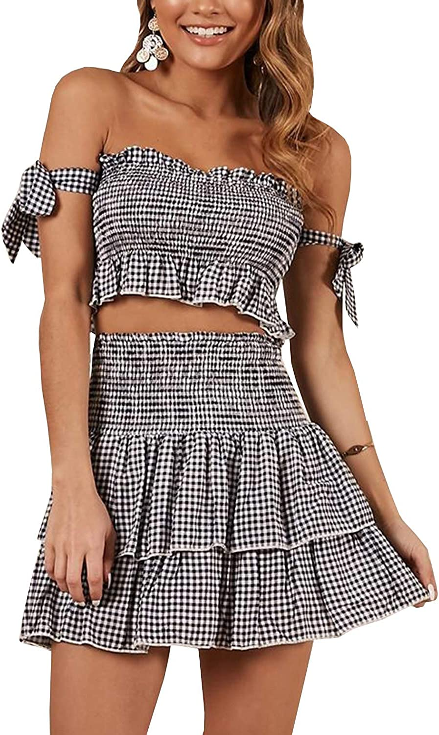 Women's Sexy Ruched Spagetti Cami Crop Top with High Waist Shirred Bodycon Skirt 2 Piece Set Outfits