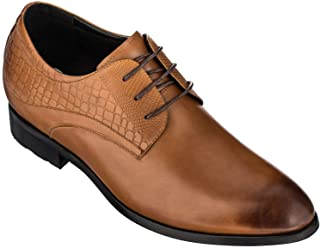 CALTO Height Increasing Elevator Shoes 3 Inches Taller - Light Tan Leather Dress Shoes - Men Invisible Elevated High Heels...