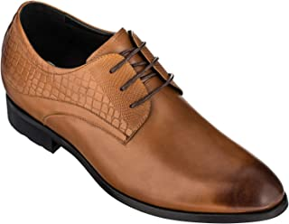 Height Increasing Elevator Shoes 3 Inches Taller - Light Tan Leather Dress Shoes - Men Invisible Elevated High Heels Oxfords A329013