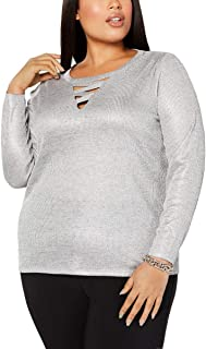 INC Women's Top Plus Knit Criss-Cross Front Metallic