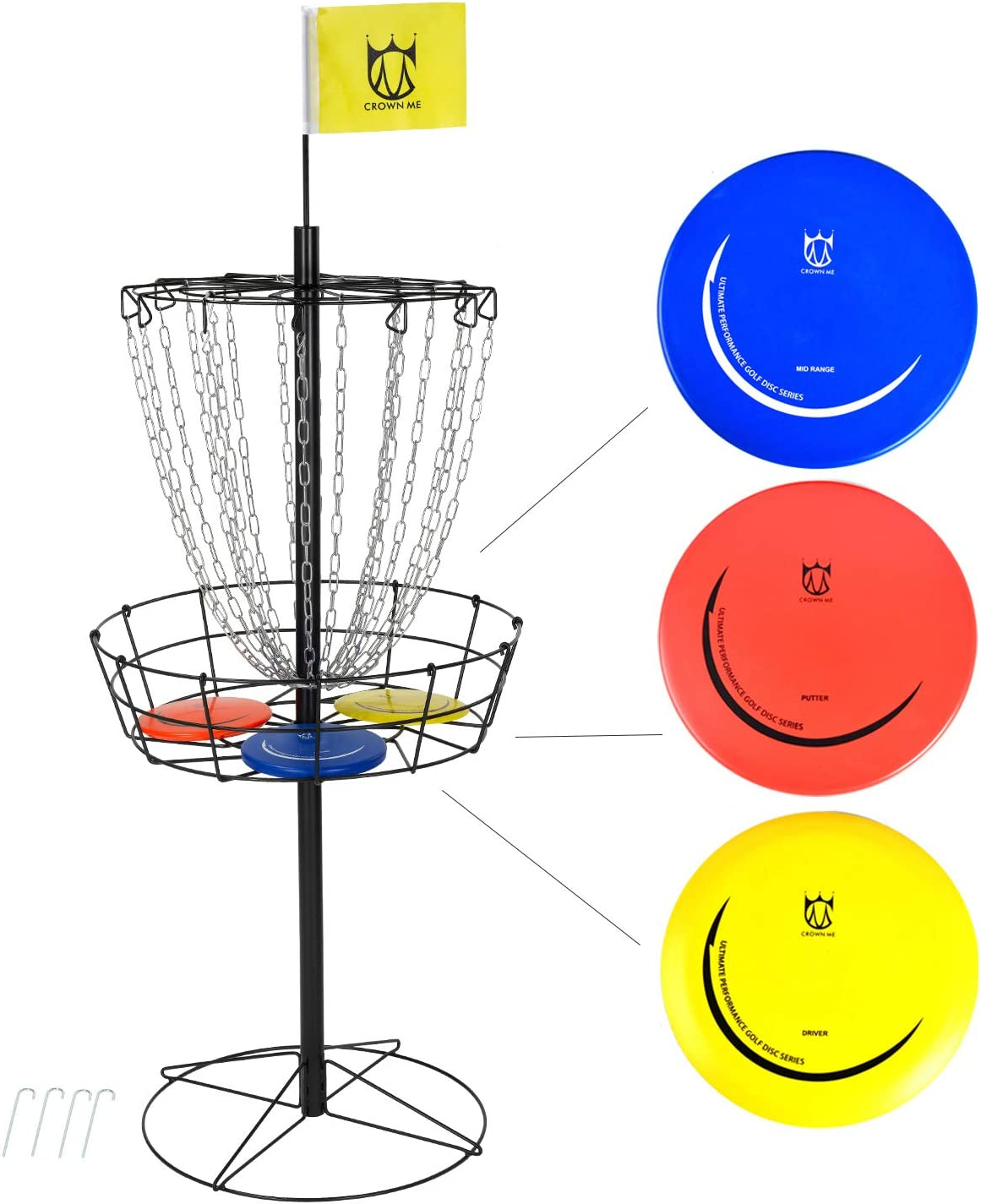 Max 85% OFF Max 53% OFF CROWN ME Disc Golf Basket Target Include 3 Discs Porta 18-Chain
