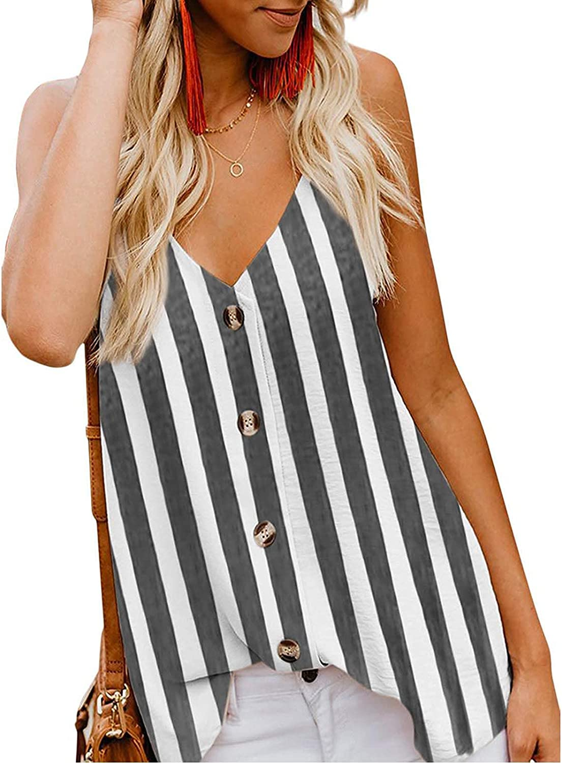 Womens Stripe Buttons Camis Tops Summer Loose V-Neck Vest Sling Camisole Sleeveless T-Shirt