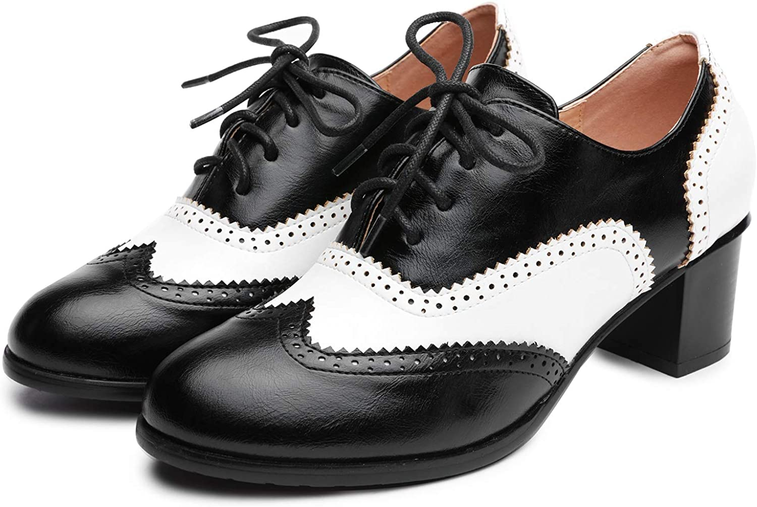 1940s Teenage Fashion: Girls Odema Womens PU Leather Oxfords Wingtip Lace up Mid Heel Pumps Shoes …  AT vintagedancer.com