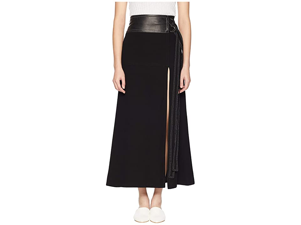 YIGAL AZROUEL High-Waisted Long Skirt w/ Double Tie (Black) Women's Skirt
