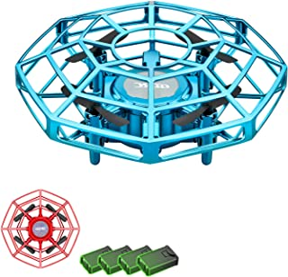 4DRC V3 (2-Pack)Mini Drone Toy Hand Operated Drone for kids adults UFO Flying Ball Gifts for Boys Girls, 4 Batteries,Indoor Small Drone with Hover Flight ,Manual Motion Sensor, LED light,Anti-Collision