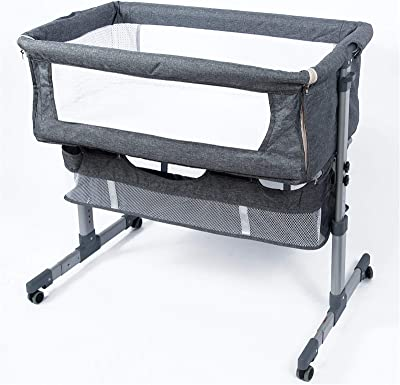 Bedside Sleeper Bedside Crib, Baby Bassinet 3 in 1 Travel Baby Crib Baby Bed with Breathable Net, Adjustable Portable Bed for Infant (deep Grey)