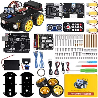 ELEGOO UNO R3 Project Smart Robot Car Kit V 3.0 with UNO R3, Line Tracking Module, Ultrasonic Sensor, IR Remote Control Module etc. Intelligent and Educational Toy Car Robotic Kit for Arduino Learner