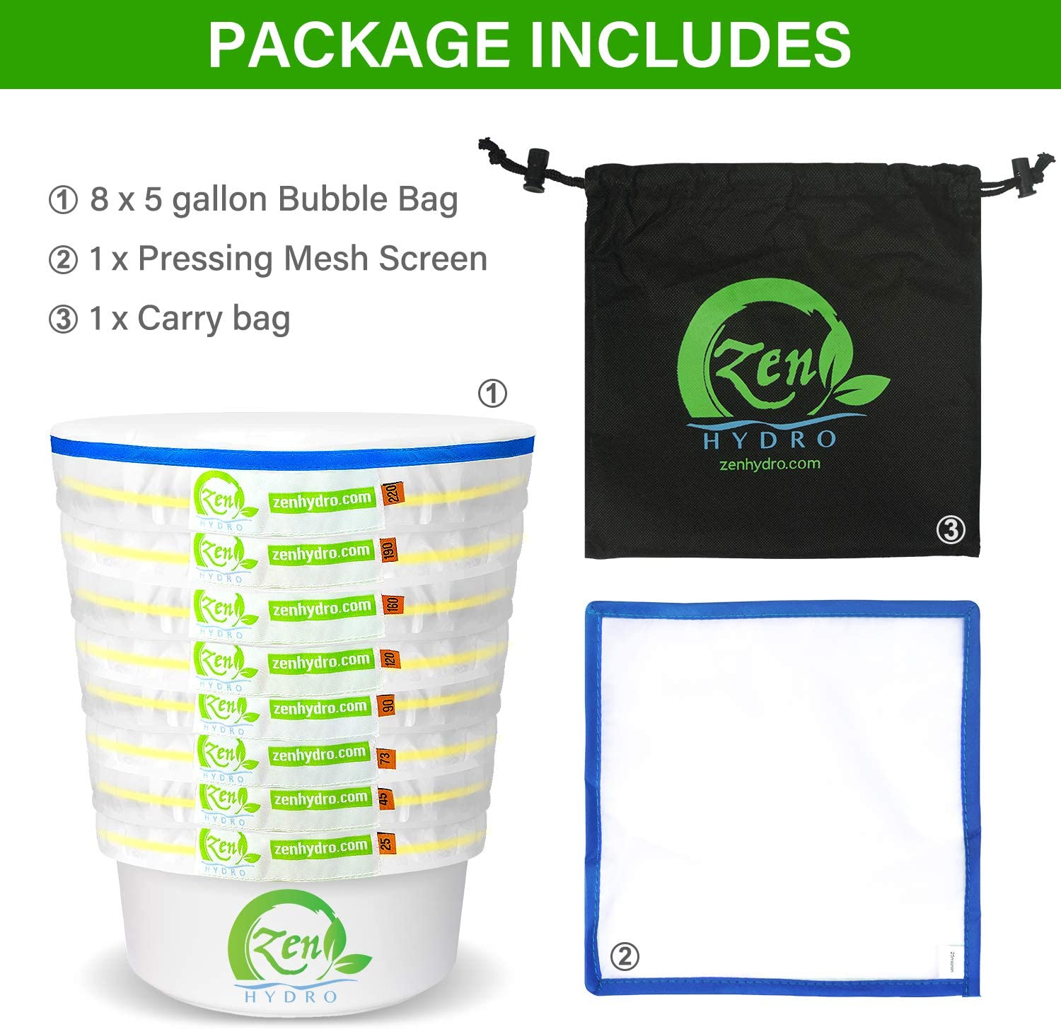 4 Colors per Set iPower Bubble Mesh 5 Gallon Herbal Ice Essence Extraction Kit with 25 Micron Pressing Screen Storage Bag