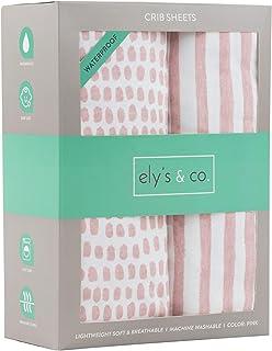 Ely's & Co. Waterproof Crib Sheet | Toddler Sheet no Need for Crib Mattress Pad Cover or Protector I Mauve Pink Splash and...