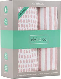 Ely's & Co. Waterproof Crib Sheet   Toddler Sheet no Need for Crib Mattress Pad Cover or Protector I Mauve Pink Splash and Stripes