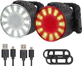 LED fiets lichten set, USB oplaadbare super heldere 6 lichtmodus opties waterdichte fiets lichten sets, voor en achter com...