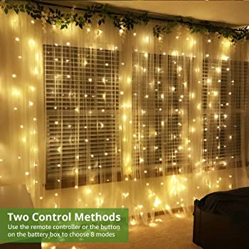 LE Fairy Curtain Lights Battery or USB Plug in, 9.8 x 9.8 ft Curtain of String Lights with Remote, 300 LED Indoor Out...