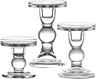 """YiSeyruo Mercury Glass Candle Holder: Clear Glass Votive Elegant Candle Holders Crystal Candlesticks for 2"""" 2.5"""" 2.75"""" Pil..."""