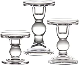"YiSeyruo Mercury Glass Candle Holder: Clear Glass Votive Elegant Candle Holders Crystal Candlesticks for 2"" 2.5"" 2.75"" Pil..."