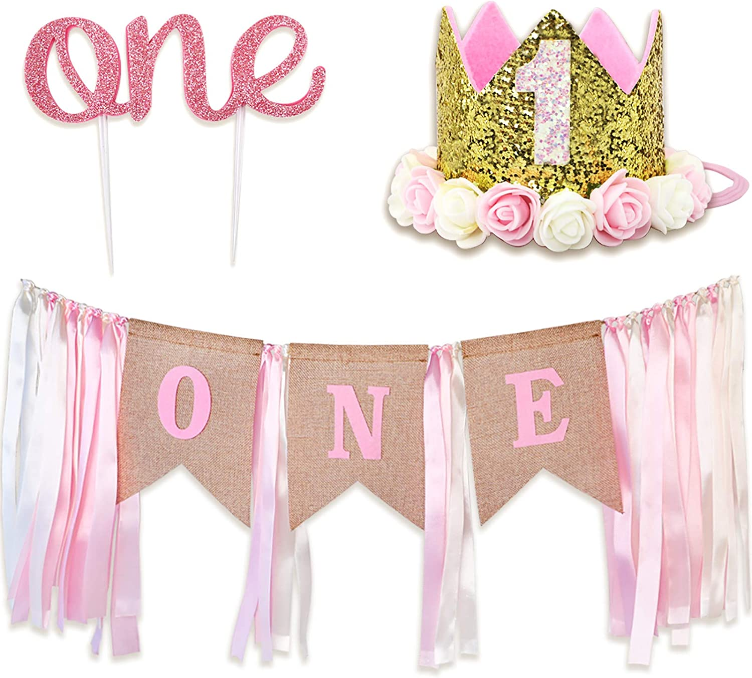 RUBFAC First Birthday Decoration for Girl, High Chair Banner