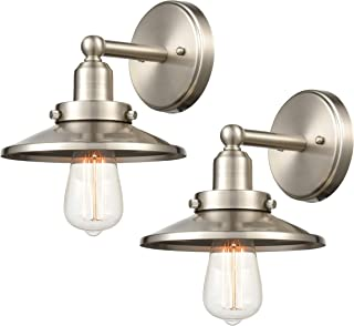 WILDSOUL 40011SN-2 Vintage Classic Edison Wall Sconce, LED Compatible Industrial Modern Farmhouse Vanity Wall Light Fixture with Bulbs, Brushed Nickel Finish, Pack of 2