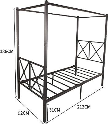 JURMERRY Canopy Lit en métal 90 x 200 cm avec tête de lit et marchepied de style européen en acier robuste Montage facile à monter soi-même Toutes les pièces incluses Noir