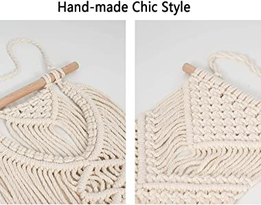2 Pcs Macrame Hanging Wall Art Small Woven Wall Decor Boho Chic Home Decoration for Girls Bedroom