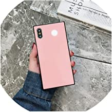 Luxury Fashion Square Full Protection Tempered Glass Solid Color Phone Cases for iPhone Xs Max Xr X 8 7 6 6S Plus Phone Cover,Pink,for iPhone 7 8 Plus