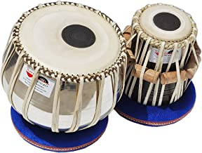 Tabla Drums Set, Deluxe Steel Bayan 2 KG., Chrome Finish, Sheesham Wood Dayan, Hand Made Drum Skin, Leather Straps to Tune, Tuning Hammer, & Pegs, Gig Bag, Cushion & Cover, Best For Student & Beginner