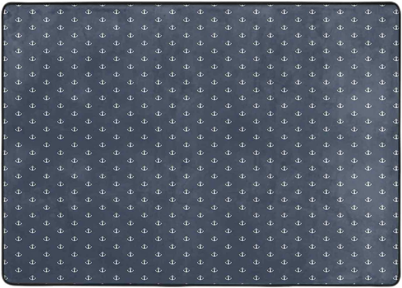 Printed Area Rug Nautical Classical White 2021 new Little Directly managed store with Pattern A