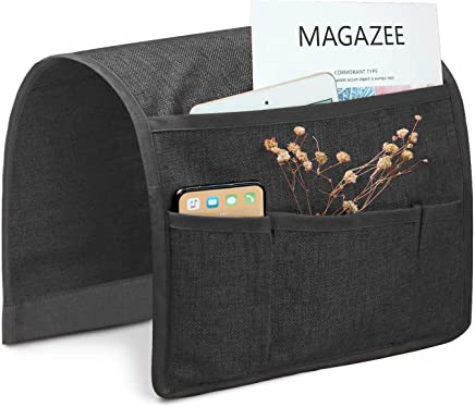 Joywell Sofa Armrest Pocket Organizer, Couch Arm Chair Caddy with 5 Pockets for Magazine, Books, TV Remote Control, Cell Phone, Glasses, iPad (13'' x 35'', Grey)