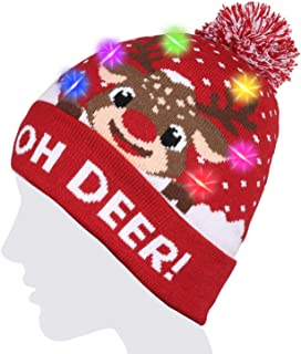 LED String Light Up Beanie Hat Knit Cap with Copper Wire Colorful Lights for Kids and Teens Christmas Gift Funny Hat Indoor Outdoor, Festival, Holiday, Celebration, Parties, Bar, etc. (Red)