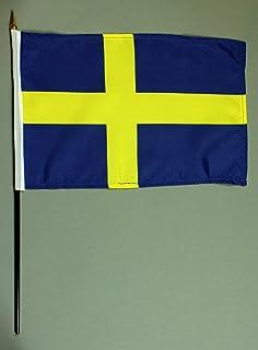 Buddel-Bini handvlag tafelvlag Zweden 20x30 cm met 42 cm mast van PVC-buis, zonder standaard, stokvlag