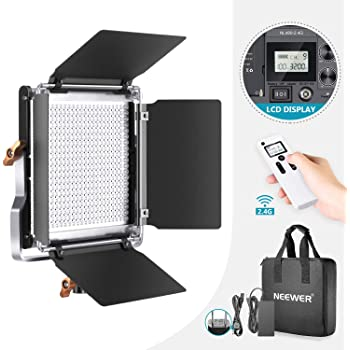 Neewer アドバンスド2.4G 480 LEDビデオライト 調光可能な二色LEDパネル 液晶画面と2.4Gワイヤレスリモコン装備 金属製U型ブラケットとバーンドア付き ポートレート、商品撮影、スタジオビデオ撮影用
