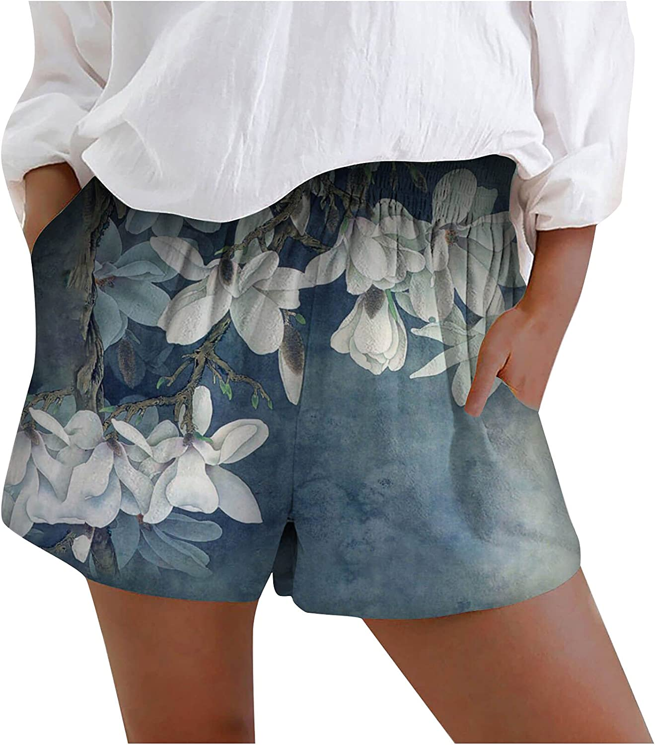 Women's Shorts Summer Loose Wide Leg Comfy Shorts Floral American Flag Print Lounge Pants Casual Activewear