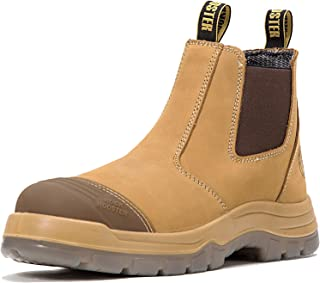 Work Boots for Men, 6 inch Steel Toe, Slip On Safety Oiled Leather Shoes, Static Dissipative, Breathable, Quick Dry(AK227, AK222)