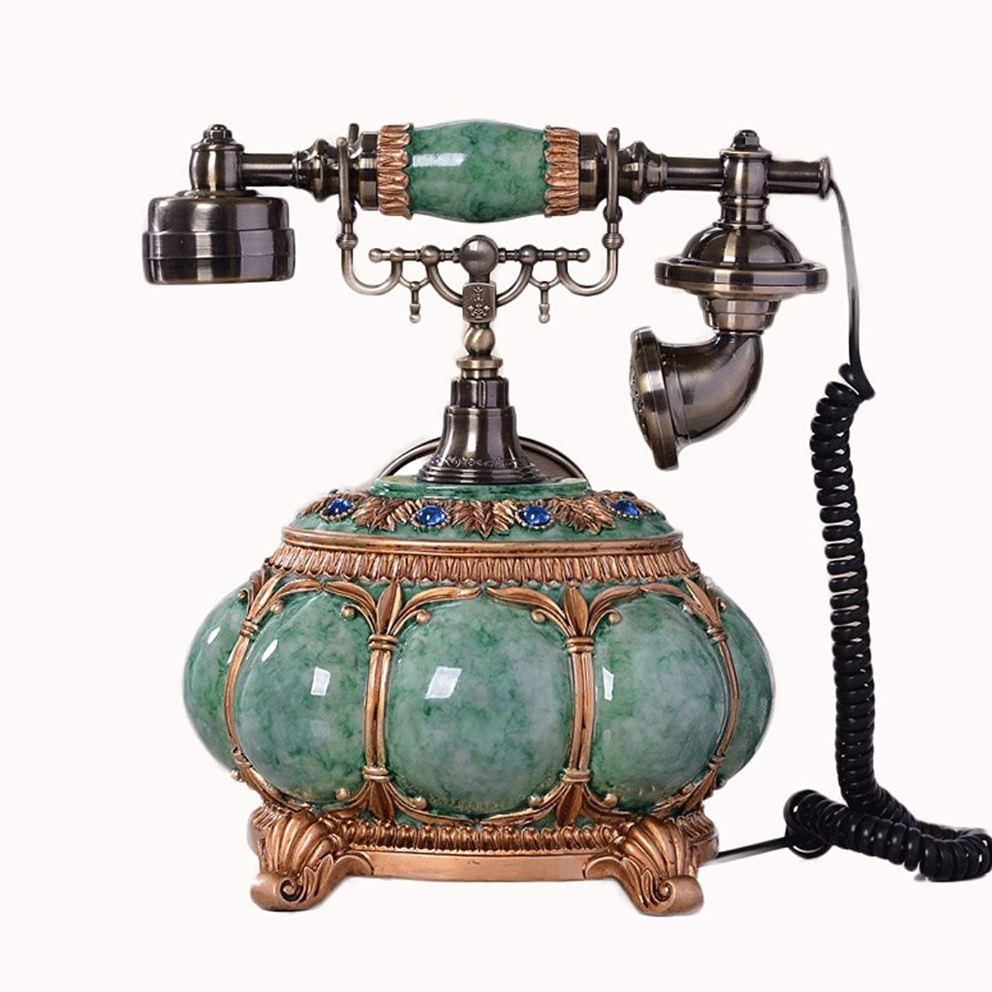 Antique Telephone- Retro Home Office Phone Wood Handle and Brass with RRR Ring Ringtones - Fashion (Color : Blue)