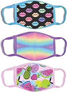 ABG Accessories Girls' 3-Pack Kid Fashionable Germ Protection, Reusable Fabric Face Mask Age 4-14
