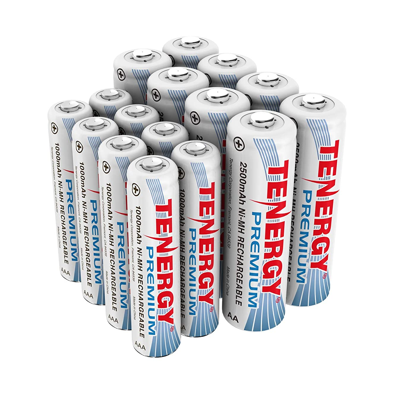 Tenergy Premium NiMH Rechargeable Battery Package: 8 AA 2500mAh + 8 AAA 1000mAh