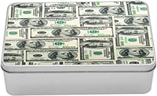 Ambesonne Money Tin Box, Dollar Bills of United States Federal Reserve with The Portrait of Ben Franklin, Portable Rectangle Metal Organizer Storage Box with Lid, 7.2