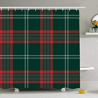 Ahawoso Shower Curtain Set with Hooks 72x72 Green Black Wool Tartan Plaid Blue Yellow Red Line Abstract Beauty Buffalo Celtic Check Checkered Waterproof Polyester Fabric Bath Decor for Bathroom