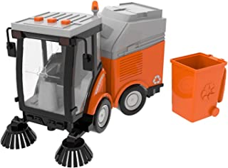 Street Sweeper Toy, Push and Go Friction Powered Truck Toys for Boys, Girls Simulation Street Sweeper Truck with Lights & Sounds, Removable Garbage Can, Sweeping Brushes(Batteries Included)