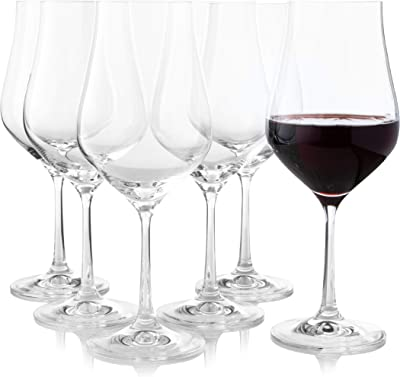 Long Stem Red Wine Glasses Set of 6 – Large Crystal Tulip Shape Best for Burgundy, Bordeaux, Merlot, Red or White Wine, Unique and Elegant Clear Universal Wine Glass by Crystalex, 450 ml
