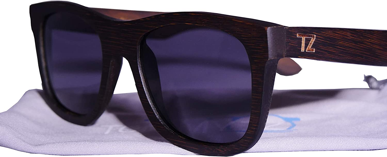 Bamboo Wood Floating Sunglasses with AntiReflective Polarized Lens  Natural Frame and Case  Wayfarer