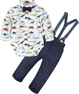 BIG ELEPHANT 2 Pieces Baby Boys Long Sleeve Shirt Overalls Set Multicoloured E34L64