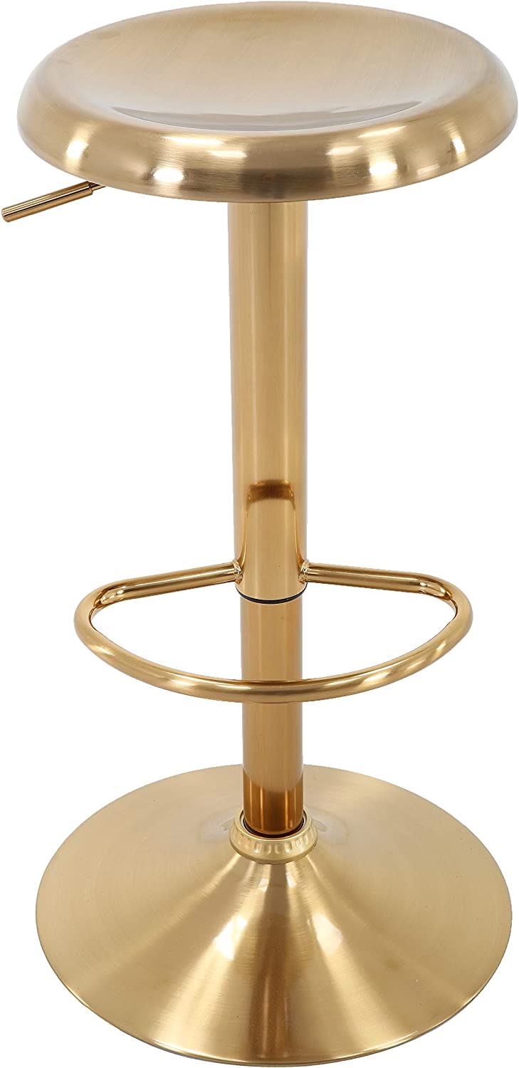 Brage Living Adjustable Height Round Gold Barstool Online limited product latest