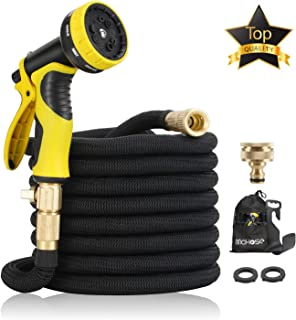 """15M Garden Hose - ALL NEW Expandable Garden Hose with Double Latex Core, 3/4"""" Solid Brass Fittings, Australian Standard Universal Tap Adaptor, Expandable Water Hose Set for Car Wash, Extra Strength Fabric - Flexible Expanding Water Hose with 9 Function Spray Nozzle by McHose (black)"""