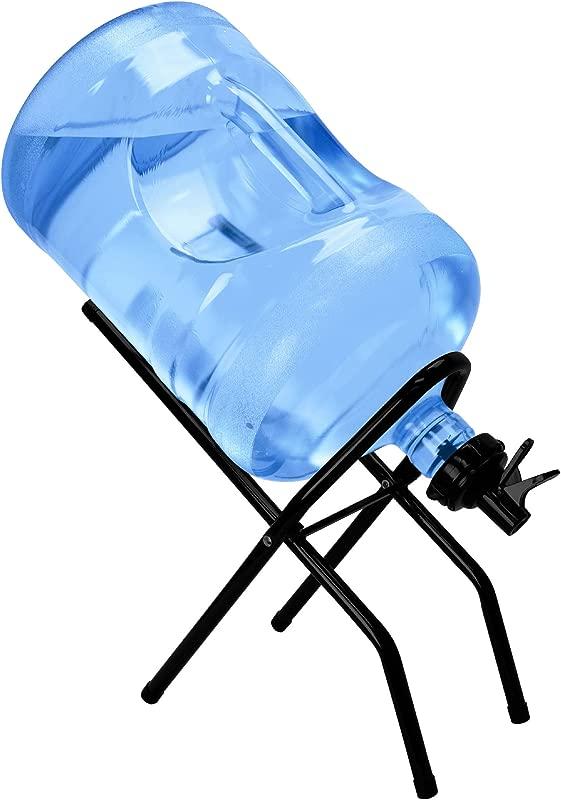 Brio 5 Gallon Water Bottle Jug Drink Dispenser Storage Cooler Foldable Cradle Stand BPA FREE Valves Stainless Steel Rack Holder No Leak Non Slip Countertop With 2 Dispenser Valves Fits BOTH 48mm And